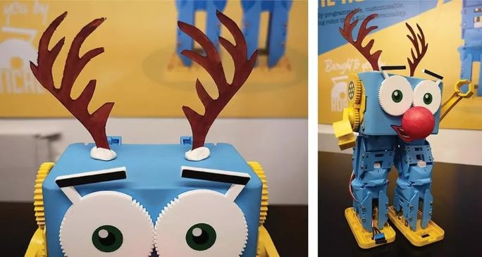 Costume for Marty the coding robot - Reindeer robot christmas present